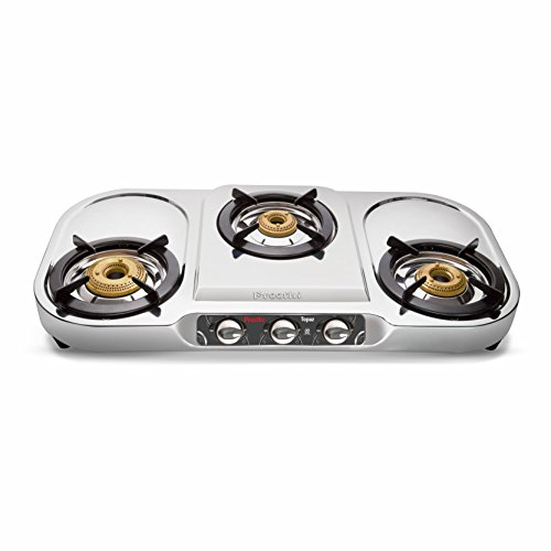 Preethi Topaz Stainless Steel 3 Burner Gas Stove, Manual...