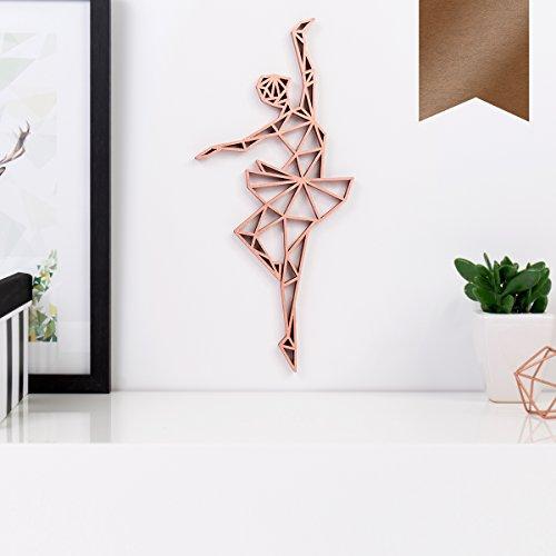 KLEINLAUT 3D-Origamis aus Holz - Wähle EIN Motiv & Farbe - Ballerina - 9 x 20 cm (M) - Kupfer