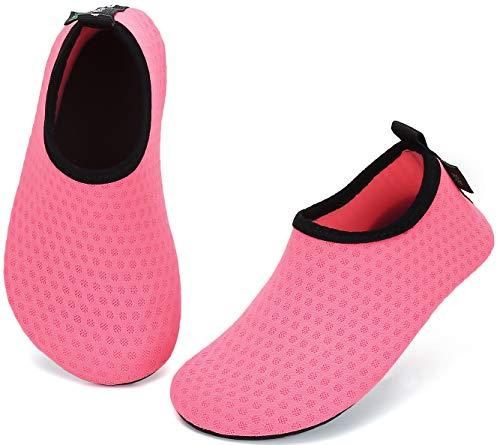 SAGUARO Niños Niñas Zapatos de Agua Calcetines Zapatillas de Deporte Descalzos Aire Libre Snorkel Deportes Acuáticos Escarpines Piscina Playa Yoga Secado Rápido,Mesh Rosa 24/25 EU