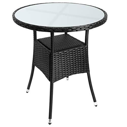 Casaria Poly Rattan Balkontisch Ø 60 x 74 cm Milchglas Rund Gartentisch Beistelltisch Tisch Gartenmöbel Schwarz