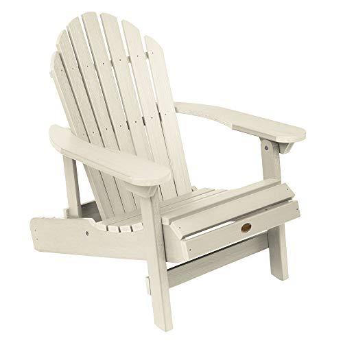 Highwood AD-CHL1-WAE Hamilton Folding and Reclining Adirondack Chair, Adult Size, Whitewash