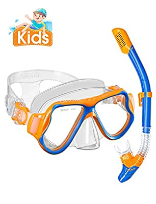 OMORC Kids Snorkel Set,Anti-Fog Underwater Snorkel Mask with Impact Resistant Panoramic Tempered Glass for Childs,Boys,Girls,Free Breathing Anti-Leak Dry Top Snorkel,Children Age 5-12,Blue and Orange