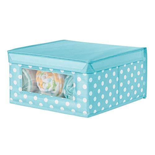 mDesign Caja apilable mediana – Caja con tapa para guardar ropa de bebé o mantas – Caja para armarios con ventana transparente y diseño de puntos – azul turquesa/blanco