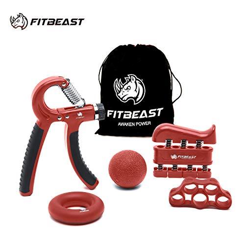 Fortalecedor de agarre de mano Kit de entrenamiento de agarre de antebrazo: paquete de 5, agarrador de mano ajustable, ejercitador de dedos, estirador de dedos, anillo de ejercicio y bola de agarre