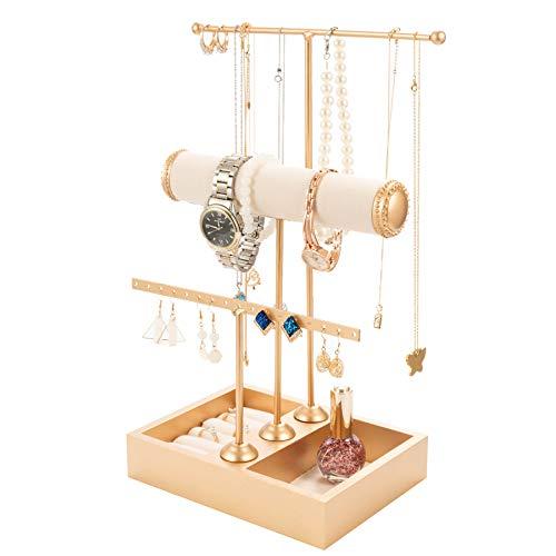 T-Form Schmuckständer Schmuckhalter Kettenhalter - 3 Stäben Schmuckbaum Kettenständer Uhrenständer Ohrringhalter QILICZ Schmuckaufbewahrung für Ringe, Ohrringe, Armbänder, Uhren und Accessoires