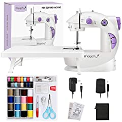 【Electrical Sewing Machine]】Support AC/DC power supply or Batteries power supply which is WIRELESS, easy to turn on with button or Foot Pedal (included). Easy to start the sewing jobs. 【High or Low Control】Double Threads design make the stitching str...
