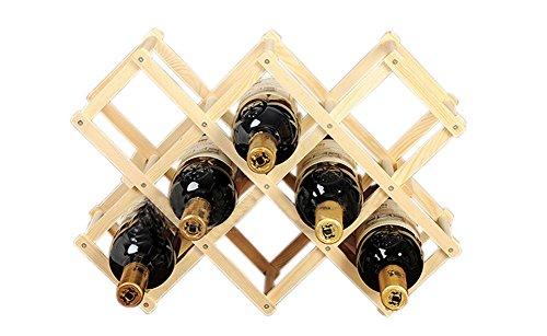 PANDA SUPERSTORE Folding Wooden Wine Rack Storage Organizer Display-Holds 10 Bottles