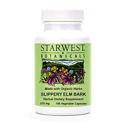 Organic Slippery Elm Bark Capsules (Ulmus rubra), 375 MG, 100 Capsules | Organic Herbal Supplement