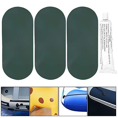 Demeras Parche de reparación de Botes inflables, fácil de Usar, Kit de reparación de Botes de PVC, Kit de Parche de reparación, Parche de Pegamento para reparación de Botes a la Deriva, Duradero