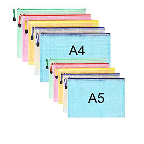 10 piezas Malla Bolsas Archivos PVC Carpeta Documentos con cremallera A4 A5(5 cada uno) bolsa almacenamiento archivos para almacenamiento recibos viaje asignación tareas oficina escolar (5 colores)