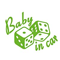 imoninn BABY in car ステッカー 【シンプル版】 No.30 ダイス (黄緑色)