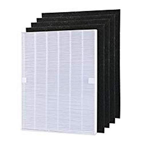 WuYan 4 stks Luchtreiniger Onderdelen Koolstof voorfilters en 1 stks Main HEPA filter voor Winix 115115 5300 5500 6300