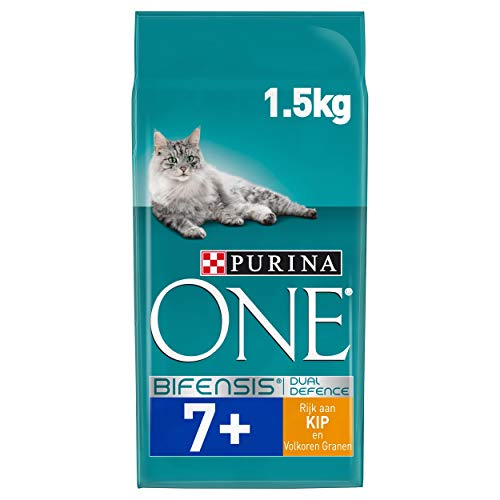 Purina ONE Senior 7+ Kattenbrokken met Kip en Volkoren Granen, 1,5kg - doos van 3 (4,5kg)