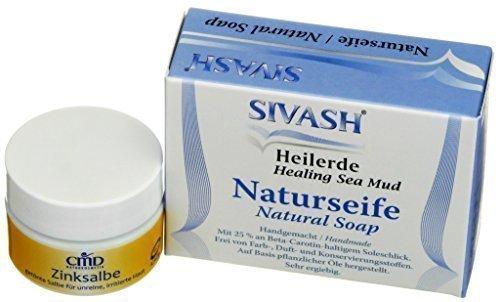 Pflegeset für irritierte, unreine Haut: SIVASH-Heilerde Naturseife 100g + Teebaumöl Heilerde Zinksalbe 15ml