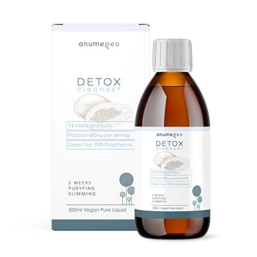 ANUMEGEO Detox Cleanser 11 Herbs&Fruits, Papaya 480mg, Green Tea 90% Polyphenols - Vegan Pure Liquid - 2 Weeks