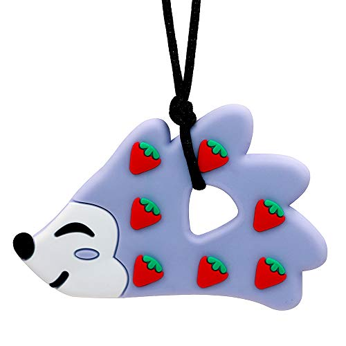 Sensory Chew Necklace for Boys and Girls - Oral Motor Aids Silicone Chewy Pendant Jewelry for Autism ADHD SPD Teething Biting with Special Needs Kids Adults - Hedgehog Chewies Toys