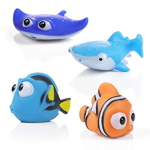 WolinTek 4pcs Creature Marine Giocattoli da Bagnetto per Bambini, Pupazzetti per Il Bagno, Galleggianti Che Spruzzano, a Tema Animale da Oceano, Grande Regalo per Bambini
