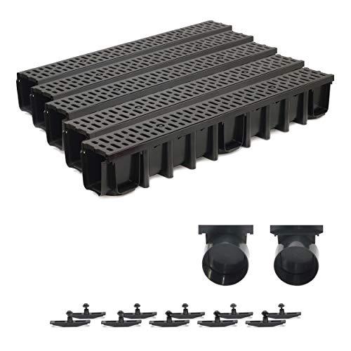 5m Entwässerungsrinne Terrassenrinne, System A15 148mm Stegrost Kunststoff, schwarz-classic, komplett SET