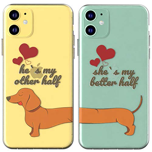 Toik Matching Couple Cases for Apple iPhone 11 Pro Xs Max Xr 10 X 8 Plus 7 6s 5s SE Girly Flexible Slim Cute Dachshund Cover Soulmate Best Friend Other Half Protective Love Gift Dog Silicone Animal