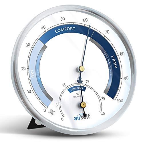 airself Termohigrómetro analógico - Termómetro de Interiores y medidor de Humedad - con Diferentes Zonas para controlar la Temperatura de un Espacio Cerrado