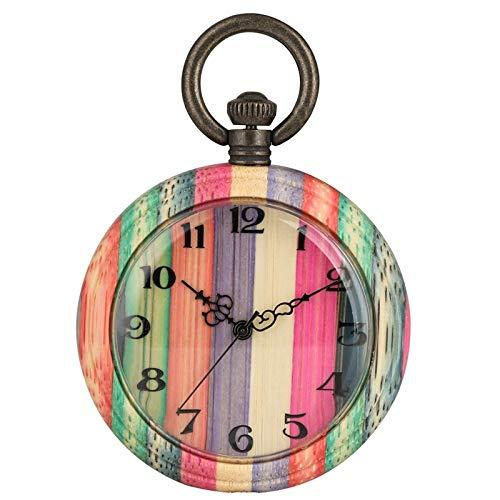 HELBOD Reloj de Bolsillo Reloj de Bolsillo de Cuarzo de Madera Colorido único Moda Caramelo Color Mezclado Caja Redonda de Madera Reloj de Cadena analógica Regalo, Color