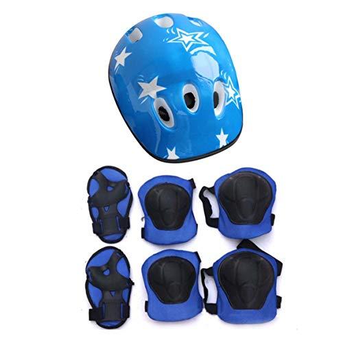 nbvmngjhjlkjlUK 7PCS / Set Universal Niños Niños Equipo de protección Conjunto Cómodo Scooter Patín Rodillo Ciclismo Rodilleras Codo Juego de Almohadillas (Azul)