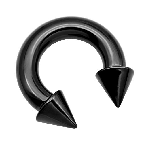 vcmart PA Ring-Internally Threaded Black Spike Circular Barbells Horseshoe 8G 12mm 316L Surgical Steel Pierced Body Jewelry Sold Individually