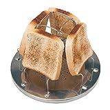 Chic Gadget Tostadora de camping para cocina de gas, soporte para pan de tostadas, bandeja para 4 rebanadas, soporte plegable de acero inoxidable, para cocina familiar, picnic al aire libre