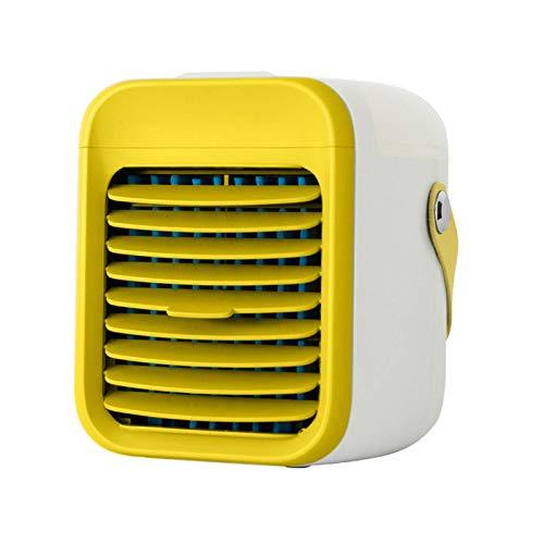 LUOWAN 2021 - Mini aire acondicionado portátil, 3 velocidades, con luz nocturna, para habitaciones, aire acondicionado portátil y aire acondicionado para interior (amarillo)