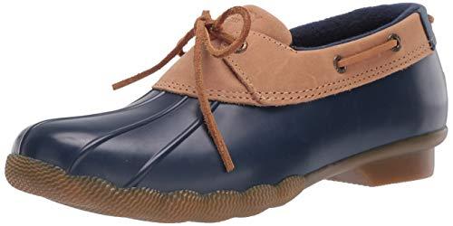 Sperry womens Saltwater 1-eye Rain Boot, Tan/Navy, 7.5 US
