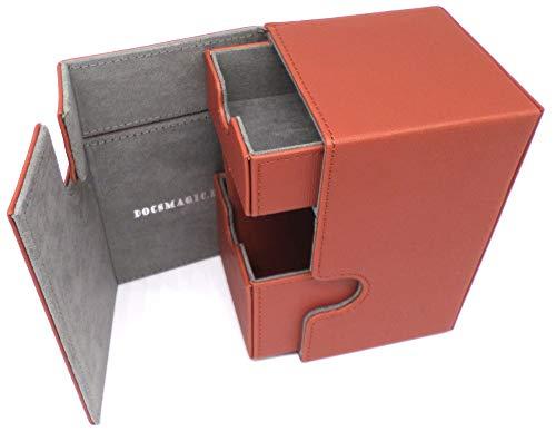 docsmagic.de Premium Magnetic Tray Box (100) Copper + Deck Divider - MTG - PKM - YGO - Kartenbox Kupfer