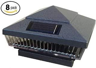 8-Pack Solar Hammered Grey Finish Post Deck Fence Cap Lights for 6