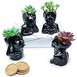 Kocris Casa Skull Succulent Pots Black Ceramic Planters with Drainage Hole Halloween Décor for Small Mini Plant Mini Cute Indoor Cactus Flower - 4 Inches Set of 4