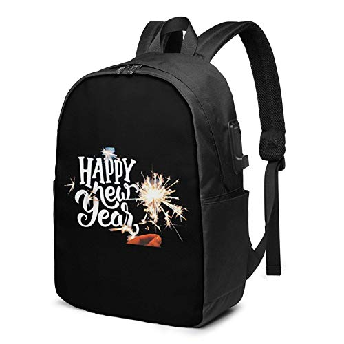 Lawenp Happy New Year Laptop Backpack with USB Charging Port, Business Bag, Bookbag | Fits Most 17 Inch Laptops and Tablets