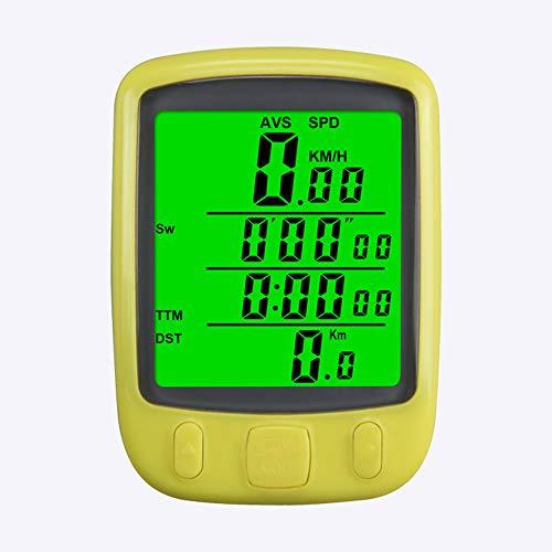 LIVELOVELAUGH wasserdichte Fahrrad-Entfernungsmesser Luminous Wired REITAUSRUSTUNG Stoppuhr Sports Timer Passwort Tabelle Tachometer-Uhr 2020,Gelb
