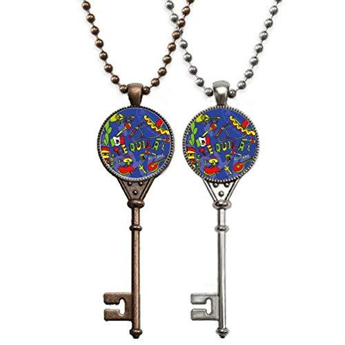 Tequila Sombrero Gitarre Chili Mexiko Elment Schlüssel Halskette Anhänger Schmuck Paar Dekoration