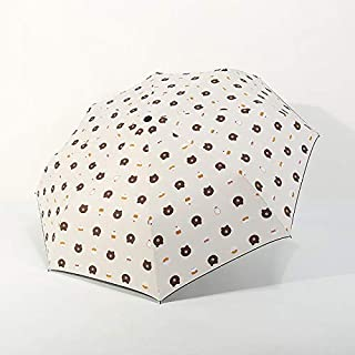 EPIC Bear Style Black Coating Cartoon Rain Umbrella Women 6K Light Pocket Girls Parasol 3 Folding Anti-UV Protection & Dome Shape Sun Rain Umbrella, Pack of 1