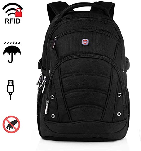 Laptop Backpack 15.6 Inch Shockproof 1680D Heavy Duty Rucksack Laptop Backpack With USB Port/Anti-Theft RFID,Waterproof Black Rucksack Laptop Bag With Raincover for College Work Rucksacks For Men Women