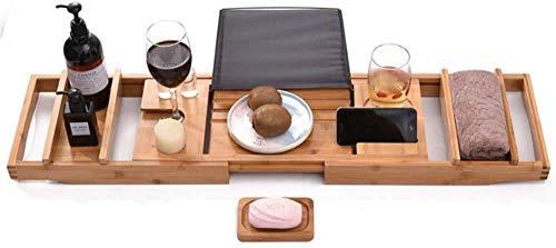 XHLLX Baño Caddy Bath Hack, Bandeja de baño de bambú Ajustable con Soporte para teléfono y Soporte de Copa de Vino
