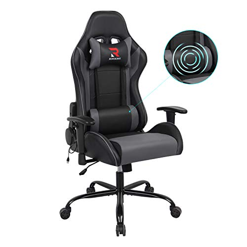 Rimiking Massage Gaming Chair Racing Style Ergonomic Home Office Chairs - Adjustable High Back Swivel PU Leather Computer Desk Chair with Lumbar Support and Headrest Grey