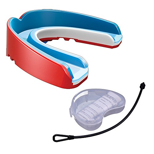 Shock Doctor Nano 3D 6520Y Ultimate Self-Fit Mundschutz mit Strap und Mundschutzdose - Pearl Red Gr. Junior