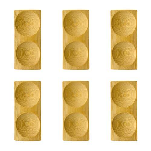 Cabilock 6 Platos de Salsa de Bambú Cuencos de Salsa de Soja Cuencos de Inmersión Platos para Servir Aperitivos Platillo Pequeño de Porcelana para Condimentos de Ketchup (Surtido de