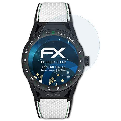 atFoliX Schutzfolie kompatibel mit Tag Heuer Connected Modular 45 Golf Edition Panzerfolie, ultraklare & stoßdämpfende FX Folie (3X)