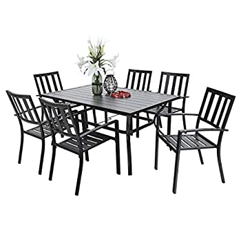"""PHI VILLA 7 Piece Outdoor Patio Dining Set for 6 60"""" Rectangular Metal Dining Table with Umbrella Hole & 6 Metal Stackable Chairs for Deck Yard Garden"""