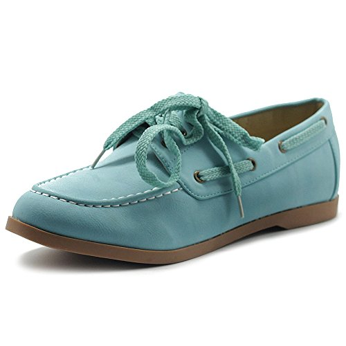 Ollio Women's Faux Leather Lace Up Boat Shoes Slip On Loafers M1610 (5.5 B(M) US, Mint)