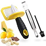 Citrus Lemon Zester Cheese Grater & Squeezer Reamer, 2 In 1 Zesting Tool Handheld Rasp for Parmesan Ginger Nutmeg Garlic Chocolate, Rust-Free Razor-Sharp Stainless Steel Blade- Dishwasher Safe(Yellow)