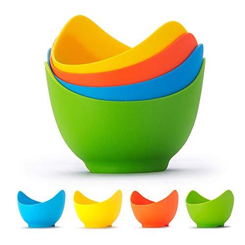 Bracconiere per uova in silicone da 4 pezzi, tazze per il bracconaggio di uova in materiale alimentare senza BPA, perfetta produzione di uova in camicia, set per la preparazione di uova in camicia