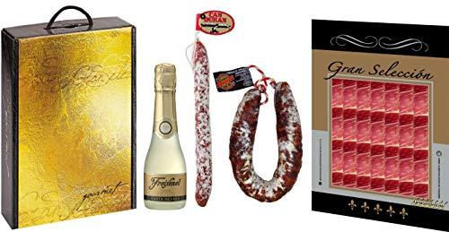 Cesta de Navidad con 1 paq. Jamón ibérico, 1 Botella Freixanet 20cl, 1 Fuet Can Duran y 1 Chorizo Salamanca
