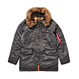 Alpha Industries N-3B Slim Fit Parka - Cold Weather Military Issue Parka - Replica Grey, M