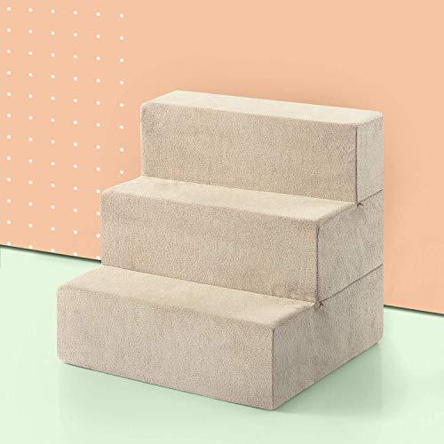 ZINUS Foam 46 cm tres escalones Escaleras para mascotas | Rampa para gatos y perros mediano, crema